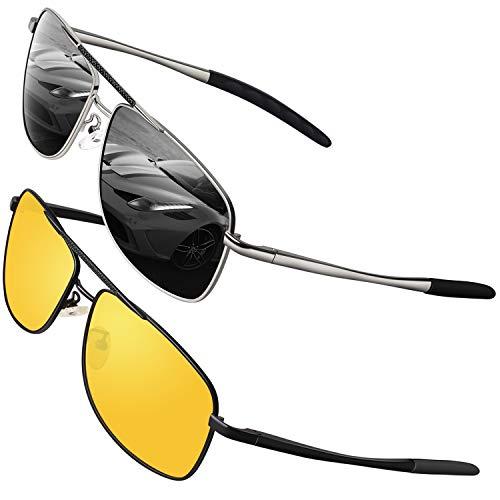 GQUEEN Polarisierte Sonnenbrille Herren Pilotenbrille Fliegerbrille Fahren Nachtsichtbrille 2er Pack