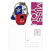チリの旗の顔の化粧マスクを叫んでいるキャップ ポストカードセットサンクスカード郵送側20個ミス