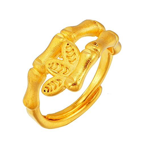 Anillos de oro de 24 K de Dubai para mujer, anillo abierto antialérgico, patrón de hojas, anillos simples de boda para mujer, bisutería