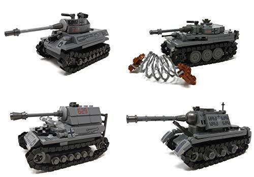 Modbrix 4 x Bausteine Panzer Tiger Panzer, Königstiger, Jagdtiger, Panzerjäger, 957 Klemmbausteine