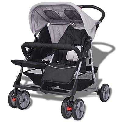 Estink Baby Twin - Cochecito de bebé Twin, acero gris y negro
