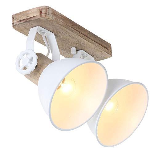 Deckenleuchte 2er Spot Steinhauer 7969W Wandlampe Vintage E27 Rustikal Holz Metall Strahler Braun Weiß