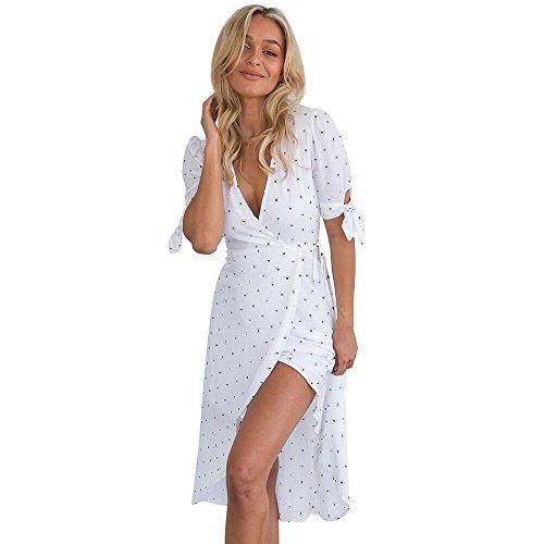 OYSOHE Dame Vogue Unifarben Kleid, Neueste Frauen V-Ausschnitt Kurzarm Boho Long Maxi Polka Dot Abendkleid (S, Weiß)