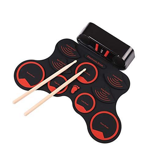 LNLJ 9 Pad Roll Up Schlagzeug, Integrierter Lautsprecher Und Wiederaufladbare Lithium-Batterie, Drum Stick, Fußpedale, Great Holiday Geburtstags-Geschenk Für Kinder