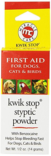 MiracleCare Kwik Stop Styptic Powder for Dogs, Cats and Birds. 0.5oz