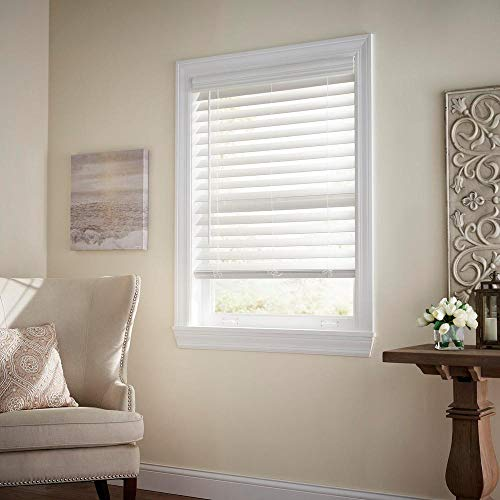 Home Decorators Collection White Cordless 2-1/2 in. Premium Faux Wood Blind - 23 in. W x 48 in. L (Actual Size - 22.5 in. W x 48 L)