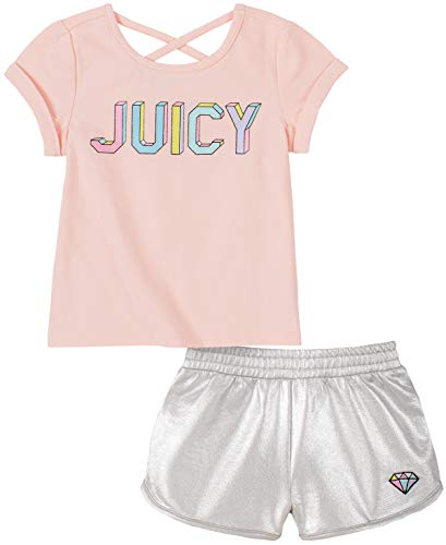 Juicy Couture Baby Girls' 2 Pieces Shorts Set, Silver Grey/Pink, 18M