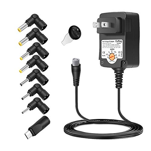 Outtag 15W Universal AC Adapter 3V 4.5V 5V 6V 7.5V 9V 12V Multi Voltage Switching Power Supply Replacement w/Multi-Tips for 3-12V Household Electronics Routers CCTV IP Cameras Smartphone Speakers