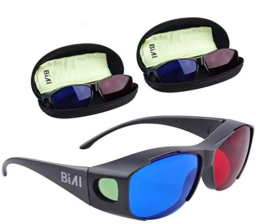 BIAL 3 Pack Red-Blue 3D Glasses with Glasses Case/Cyan Anaglyph Simple Style 3D Glasses 3D Movie Game-Extra Upgrade Style (3PCS)