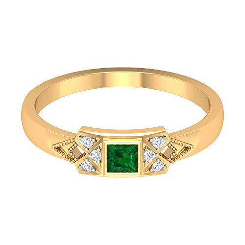 Rosec Jewels 14 quilates oro amarillo round-brilliant-shape princess-shape H-I Green Diamond Emerald
