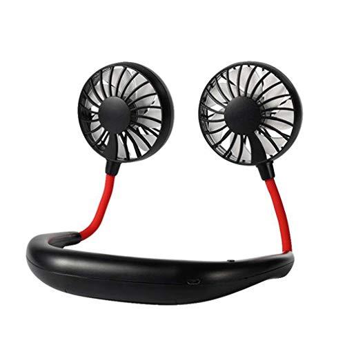 FITFI Hängender Hals Sportventilator tragbarer Micro-USB-Ladegerät kleiner Lüfter stumm faltbarer Desktop-Ventilator Handheld in Weiß/Pink/Schwarz/Blau/Grün (schwarz)
