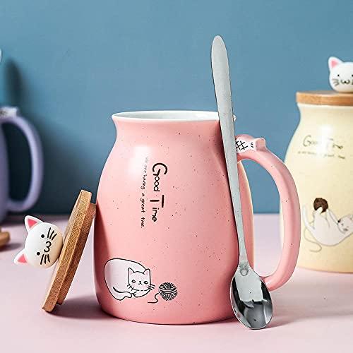 mglxzxxzc Taza De Café De Dibujos Animados Resistente Al Calor De Gato Lindo Creativo De Porcelana con Tapa Taza De Leche De Cerámica Taza De Agua para Niños-Rosa