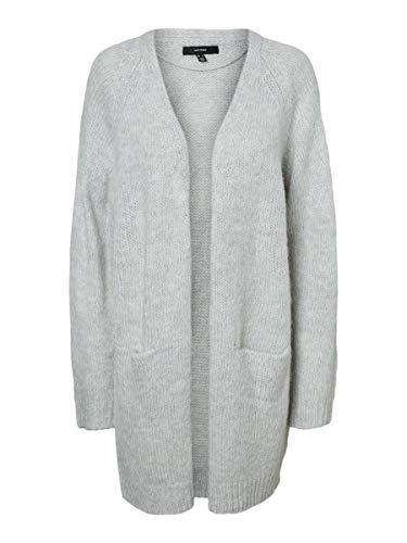 VERO MODA Damen Strick-Cardigan VMNoma Lange Strick-Jacke 10231322 Light Grey Mel M