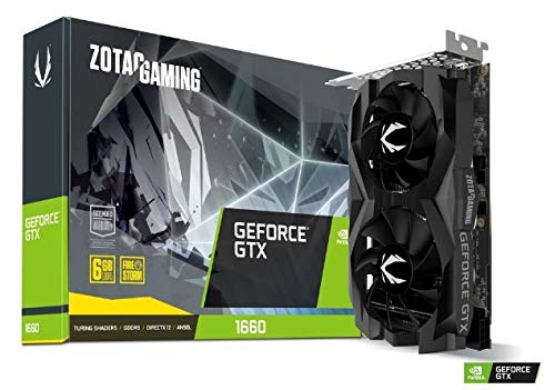 ZOTAC GAMING GeForce GTX 1660 Twin Fan Grafikkarte (NVIDIA GTX 1660, 6GB GDDDR5, 192bit, Boost-Takt 1785MHz, 8Gbps)