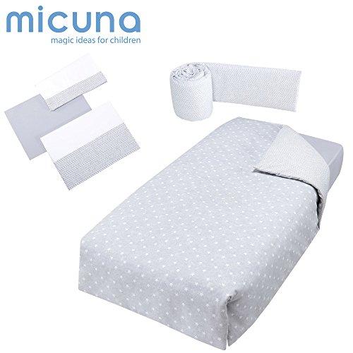 Micuna Galaxy - Pack protector y nórdico y juego de sabanas, unisex, color gris