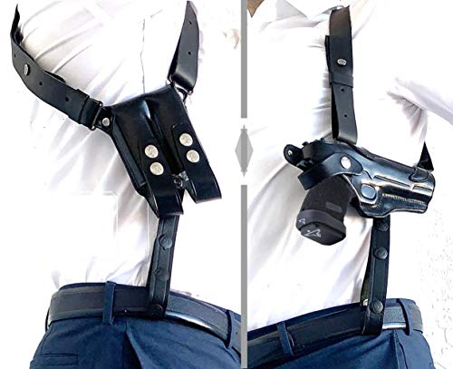 Aysesa Rig for Glock 19 Leather Shoulder Holster fits Many Glock Pistols: Glock 17/19 / 23/26 / 32/43 / Right Handed/Mag Pouches and Tie Down Straps Included Full Set (Jet Black)