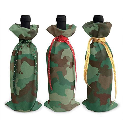 3 bolsas de botella de vino, bolsas de Navidad de camuflaje verde para bodas, regalos de fiesta, suministros de Navidad, vacaciones y vino.