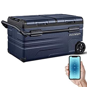 BODEGA APP Control Car Fridge 80 Quart(75L)Protable RV Refrigerator Electric Cooler Dual Zone -4℉-68℉ Small Freezer Travel and Camping Support 12/24V DC and 100-240V AC