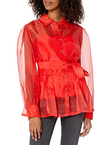 The Drop Women's @shopdandy Organza Shirt with Stretch Cami, Flame Red, XXS