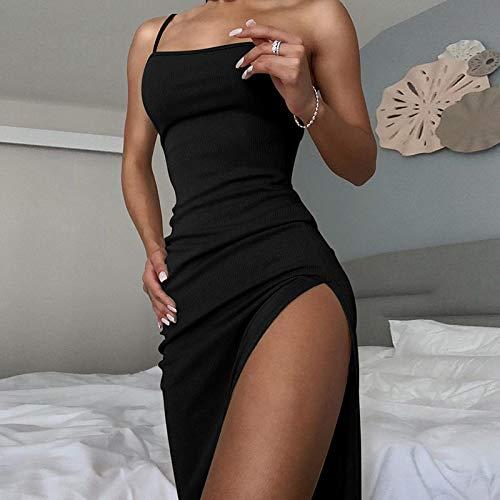 Vestido de Mujer Vestido con Abertura Lateral para Mujer Sexy sin Mangas de Punto sólido hasta el Tobillo Vestido de fie