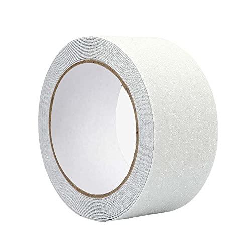 WELSTIK 滑り止めテープ すべり止め テープ 防水 最新型鉱物粒子 強力 階段 脚立 床 屋外 屋内 転倒防止 キズ防止 安全対策 事故防止 テープ (50MM x 5M オフホワイト)