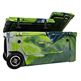 WYLD 75 Quart Dual-Compartment Insulated (Rainier Green) Cooler w/Wheels & Tap Kit! Aerator Port Kit & Rod Holder Available for Camping Fishing Boating & Tailgating
