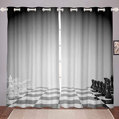Castle Fairy 3D International Chess Printed Window Curtain Blackout Room Darkening White-Black Duel Pattern Thermal Insulated Brushed Curtains Vivid Dyeing Microfiber 2 Panel Set, 84Wx63L inch