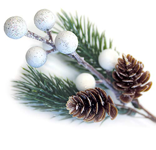 OLYPHAN White Christmas Berries/Berry Stems w. Pine Branches & Artificial Pine Cones/White Holly Spray/Wreath Picks for Winter Décor, Holiday Crafts, Xmas Decorations/Decorative Pick