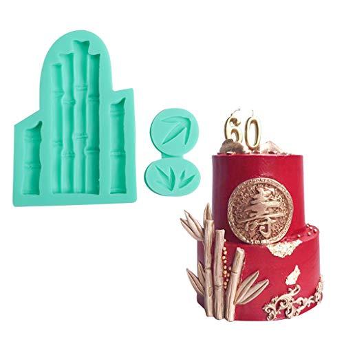 Manyao - Molde de silicona para repostería (bambú, 3D, 1 unidad), color verde