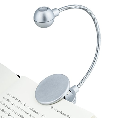 WITHit Clip On Book Light – Silver – LED Reading Light with Clip for Books and eBooks, Reduced Glare, Portable and Lightweight, Cute Bookmark Light for Kids and Adults, Batteries Included