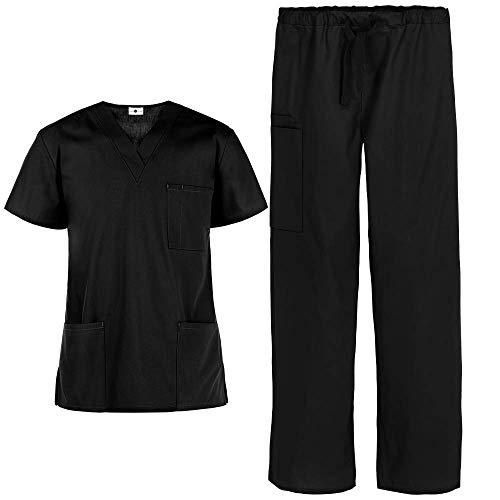 Strictly Scrubs Unisex Scrub Set (Black, Medium)