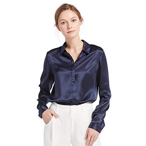 LilySilk Damen Hemdbluse Seide Sommerliche Damenbluse Shirt mit verdeckter Knopfleiste von 22 Momme Verpackung MEHRWEG (Marineblau,S)