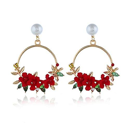 Weisin - Pendientes aro diseño Flores Perlas Artificiales