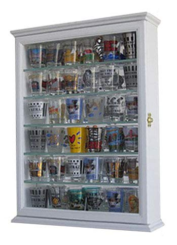 Souvenir Shot Glass Display Case Shadow Box Wall Mounted Cabinet, Mirror Background (White)