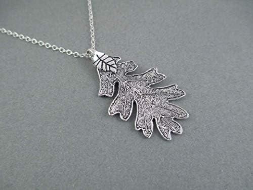 Silver Oak Leaf Ranger Pendant Necklace product image