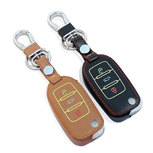 FGJIHB SchlüsseletuiLeder-Autoschlüsselabdeckungfür VW JettaTouran Tourage Tiguan Passat CC Golf 4 5 6 PoloBora UP, braun