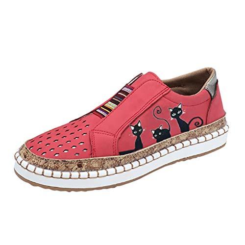 Xmiral Beiläufig Flache Schuhe für Damen in Übergröße, Elastische Schlüpfen EIN Schritt Atmungsaktiv Schuhe mit Katzendruck(42,Rot)