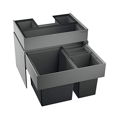 BLANCO 520782 Select Xl 60/3 Orga Abfalleimer Abfallsystem, Metall, Kunststoff, Schwarz, 40 x 56, 8 x 36, 1 cm