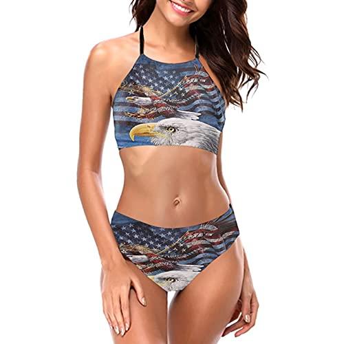 USA-Flagge Amerikanischer Patriotischer Adler Damen Mädchen Bikini-Sets Sexy Gepolsterter Triangel Bikini Push Up Crop Top Zweiteiliger Badeanzug Badeanzug Bottom BH Set Gr. L, Schwarz