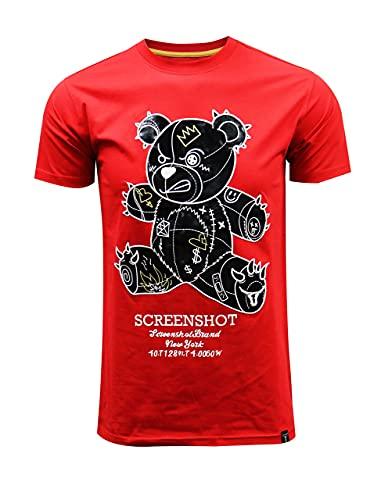 SCREENSHOT-S11113 Mens Hip-Hop Ultra Premium Quality Tee - Shiny Cartoon Teddy Bear Patch Embroidery Gel Print T-Shirt-Red-XLarge