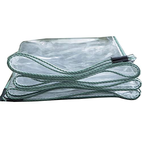 WAJIEFD Tarpaulin Waterproof Heavy Duty PVC Transparent With Eyelets Balcony Plants Cover Thicken 0.3MM,Support Customization (Color : Clear, Size : 4X10M)