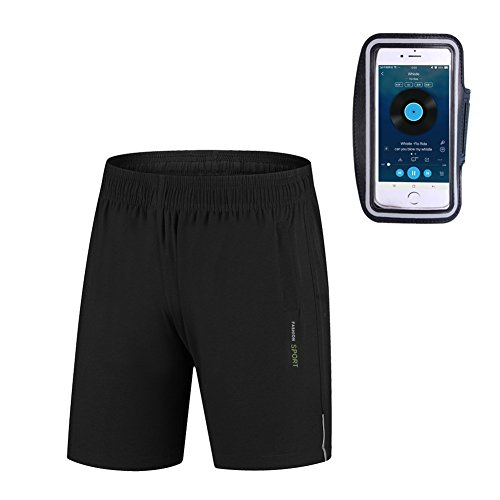Capplue Mens Sports Fitness Outdoor Breathable Running Short with Armband Large