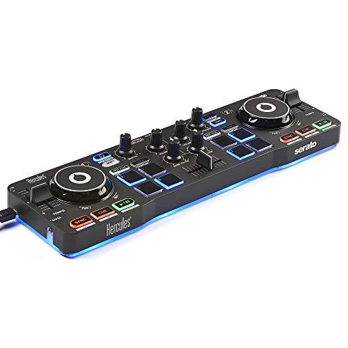Hercules DJ DJControl Starlight   Pocket USB DJ Controller with Serato DJ Lite, Touch-Sensitive Jog Wheels, Built-in Sound Card and Built-in Light Show