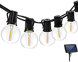 LED Solar String Lights Outdoor 18Ft Waterproof Hanging Lights with 12 Shatterproof Bulbs & 4 Light Modes, Outside Backyar...