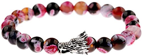JPSOUP Stone Bracelet Woman,7 Chakra 8Mm Natural Pink Semi-Precious Stone Beads Elastic Born Bangle Silver Dragon Jewelry Pray Yoga Energy Reiki Charm Gift For Couple