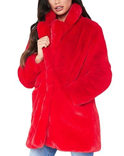 Quge Mujer Abrigo De Pelo Chaqueta Invierno Abrigo De Piel Sintética Chaqueta La Solapa Fur Jacket Rojo M