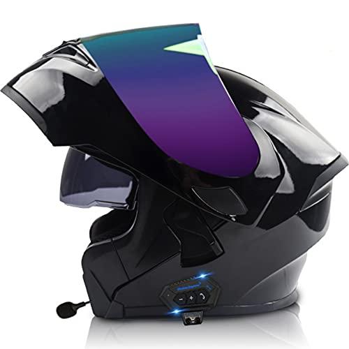 Casco de Moto Modular con Bluetooth Integrado,Casco Moto Integral ECE Homologado con Doble Visera Casco de Moto de Carreras Moto Abatible Casco Integral para Mujer Hombre Adultos C4,L