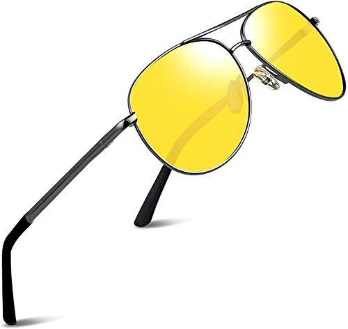 wearPro Pilotenbrille Polarisierte Sonnenbrille Herren Polarisiert Pilotenbrille Sonnenbrille Herren Verspiegelt (Linsen:Gelb; Rahmen:Metallfarbe)
