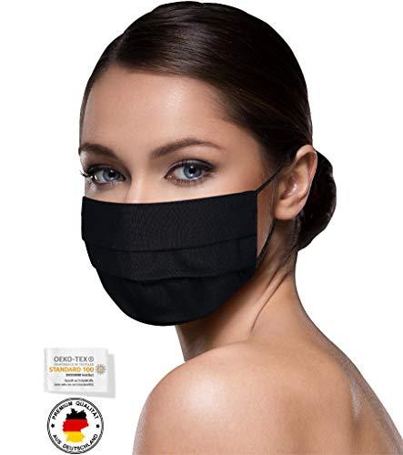 leichte Stoffmasken schwarz Mundschutz Maske schwarzer Stoff Mund Nasen Schutzmaske schwarze Mund und Nasenschutz Maske waschbar m. NASENBÜGEL SCHWARZ