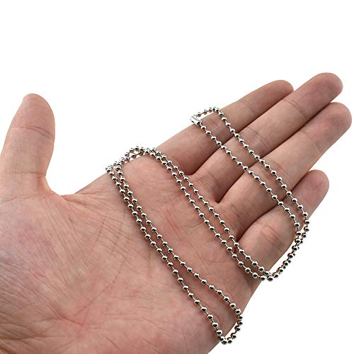 Yadaland Ball Chains 24 Inch Length 2.4mm Ball Diameter Metal Bead Pull Chain Extensions for Ceiling Fan Lights Necklaces Pendants Medical Alert Customize Length Clasps Nickel Plated 6 Pack Silver
